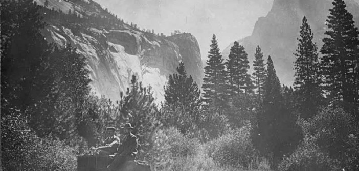 The Holmes Brothers in a Stanley Steamer auto, in the early days of tourism in Yosemite