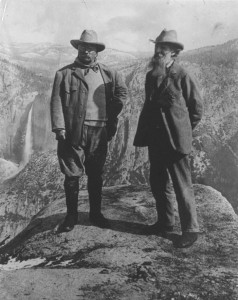 President Teddy Roosevelt and environmentalist John Muir in Yosemite