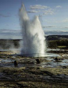 Spectacular geyser in Iceland
