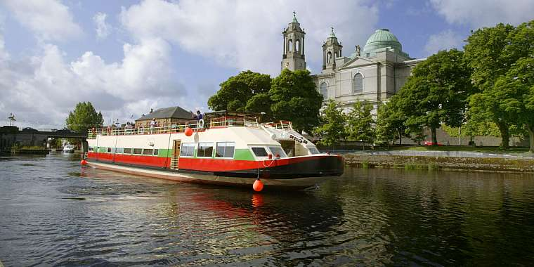 A hotel barge on the River Shannon