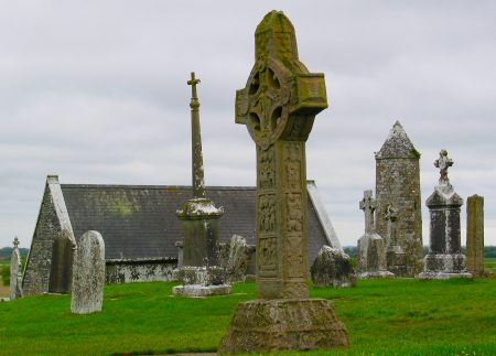 Celtic crosses at Clonmacnoise on the Shannon River.