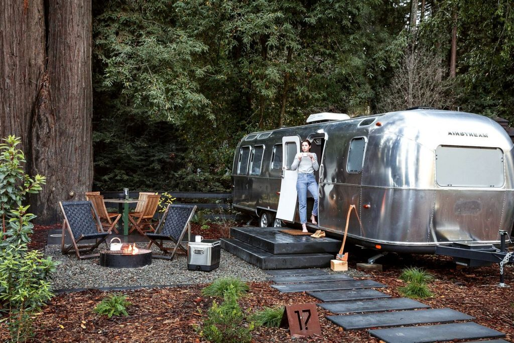 Airstream trailers and tents by the Russian River in the California Wine Country