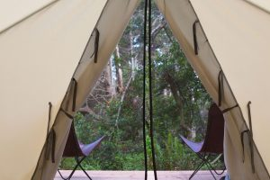 Glamping getaway on a forested headland above the Pacific at Mendocino Grove