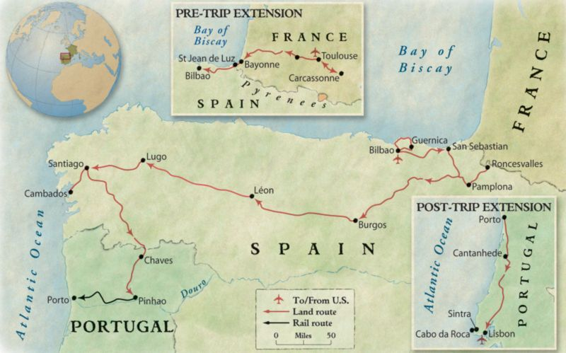 "OAT (Overseas Adventure Travel) route ""Northern Spain & Portugal Pilgrimage Into the Past"""
