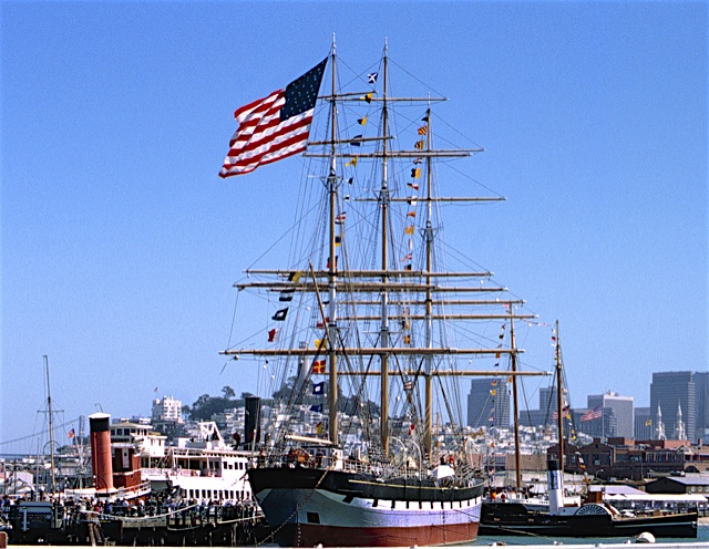 In the San Francisco Maritime National Historic Park, the CA Thayer was built in 1895